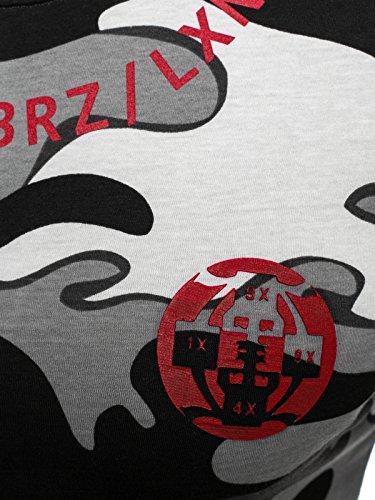 OZONEE Herren T-Shirt mit Motiv Kurzarm Rundhals Figurbetont Camouflage BREEZY 540BT Schwarz_BREEZY-366