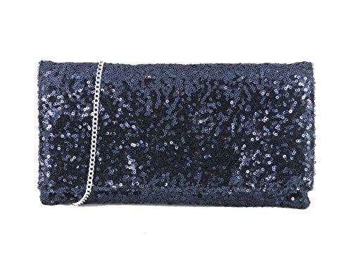 LONI Sparkly - Bolso de mano de fiesta con tira para hombro - azul marino