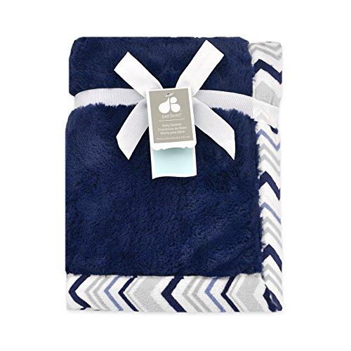 Just Born 413704L - Mantita de peluche con frontera, color azul marino