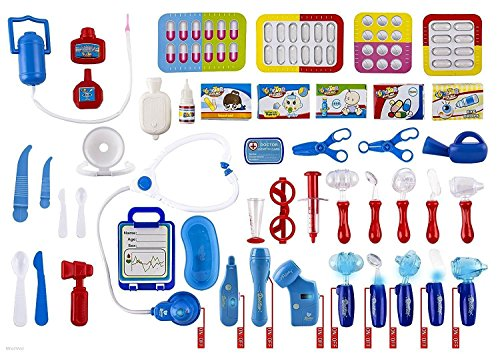 wolvol-set-of-45-pretend-play-doctor-set-for-kids-with-electric-stethoscope-toy-and-medical-doctors-