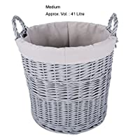 Home Storage Grey Painted Round Wicker Basket Laundry Toys Baby Nursery Collection Box