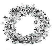 Cosanter Alambre de Hierro Espumillón para Cinta de árbol de Navidad Navidad Colgar Decoración Adornos de Navidad (Plateado) 7m