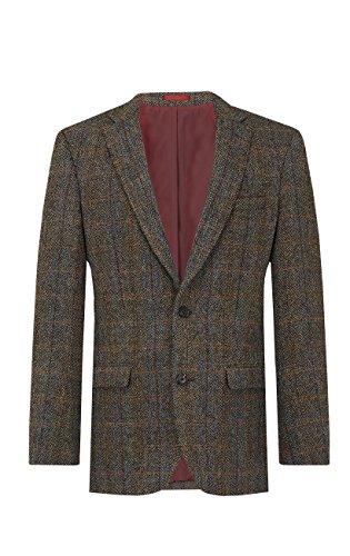 Harris Tweed Homme Veste Tweed Marron à Carreaux Bleus-50 Court
