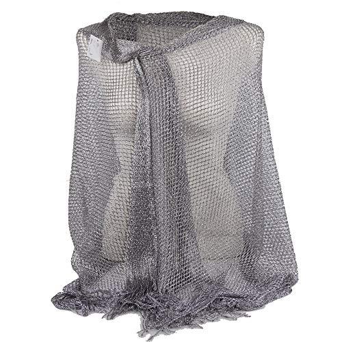 Emila stola cerimonia coprispalle elegante con frange a rete foulard scialle grande argentata lurex da matrimonio per abito da sera argento