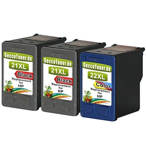 Premium 3er Set Kompatible Tintenpatronen als Ersatz für HP 21 XL +...