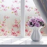 Brussels08finestra per la privacy floreale decorativa ad adesivi Frosted Window film privacy tendine da cucina bagno adesivo vetro non adesivo finestre sfumature decalcomanie, PVC, 5