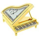 Nouveauté! Horloge de Collection Miniature Analogique Piano en Métal Plaqué Or