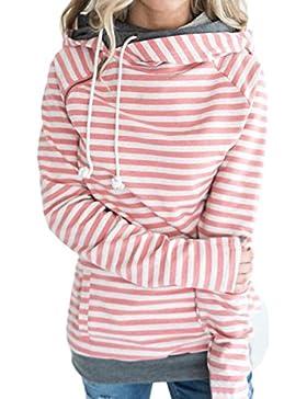 ECOWISH Damen Gestreift Pulli Hoodies Pullover Langarm Sweatshirt Kapuzenpulli Top Jacke