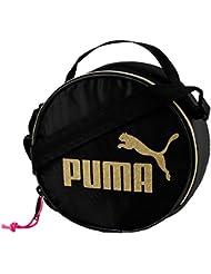 Puma sac à bandoulière pour femme, boîtier rond, logo or CAT, fermeture à glissière