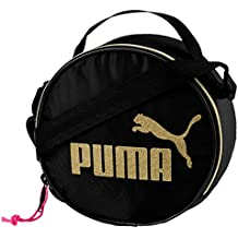 98fa94cc9 Puma Bandolera mujer, funda redonda core, logo oro CAT, cremallera