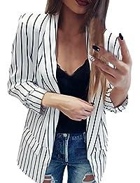 89d74527f557 Longra Damen Blazer Tailliert Elegante Slim Fit Business Büro Kurzjacke  Anzug Sakko Gestreiften Kurzblazer Mantel Jacke