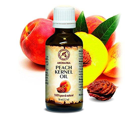 Pfirsichkernöl 50ml - Prunus Persica Kernel Oil - Italien - 100% Rein & Natürlich Pfirsichöl - Basisöl - Kaltgepresst & Raffiniert - Intensive Pflege fur Gesicht - Körper - Haare - Haut - für Schönheit - Entspannung - Massage - Körperpflege - Peach Kernel Oil