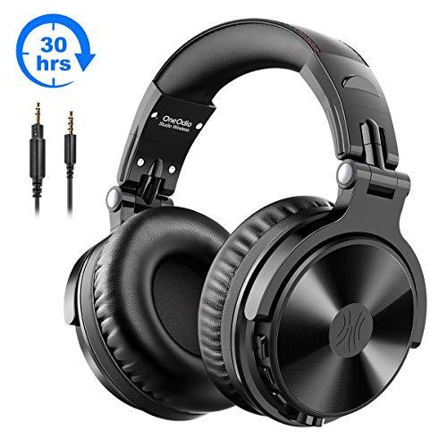 Bluetooth Kopfhörer Over Ear OneOdio Geschlossene Studio Kopfhörer Kabellos mit 30 Studen Spielzeit Wireless Kopfhörer On Ear Headphones mit CVC 8,0 Mikrofon für Smartphone PC (Schwarz)