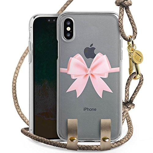 DeinDesign Carry Case kompatibel mit Apple iPhone X Hülle zum Umhängen Handykette Rosa Schleife ohne Hintergrund Geschenk