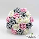 Silk Wedding Flowers Hand-made by Petals Polly, BRIDESMAIDS POSY, GREY, BABY PINK & IVORY ROSES