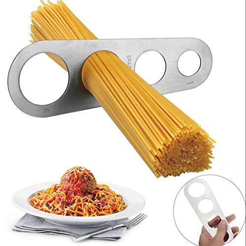 Hilai 1pc Pasta Medir Herramienta Inoxidable Pasta de Espaguetis Medidor Regla de medición Cocina Gadget del palillo con el 4 Porción Porción