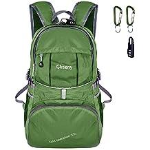 Gkeeny ultraleggero zaino 35L pieghevole in nylon impermeabile unisex Bagpack Outdoor borse a tracolla, borsa da viaggio campeggio zaino, Gkeeny Foldable Backpack, Green, 35L