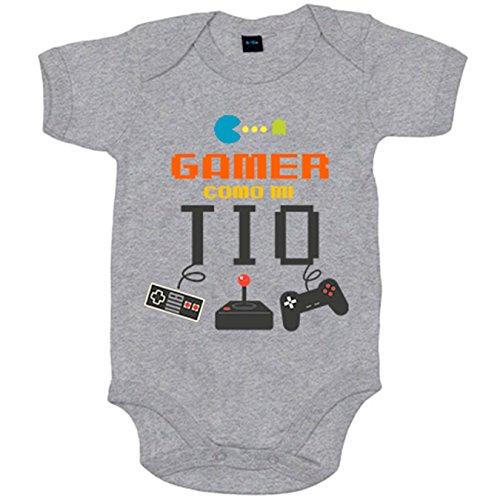 Body bebé Gamer como mi tío - Gris, 6-12 meses