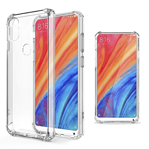 Moozy Funda Silicona Antigolpes para Xiaomi Mi Mix 2S - Transparente Crystal Clear TPU Case Cover TPU Flexible