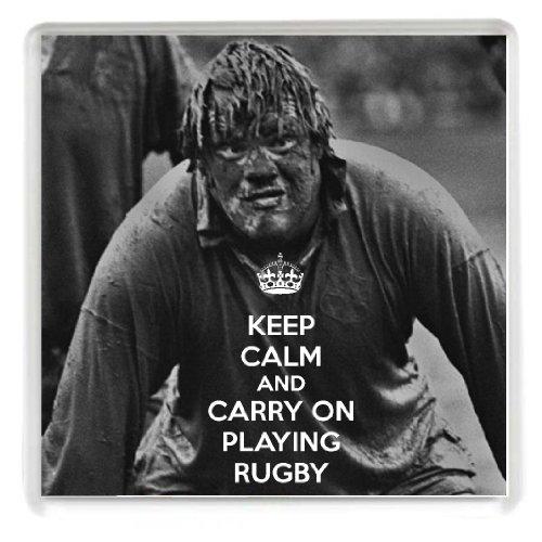 KEEP CALM AND CARRY ON jouer rugby en dessous de verre avec une image d'une boue Lions britanniques player a Unique idée cadeau pour un joueur de rugby ou ventilateurs. -