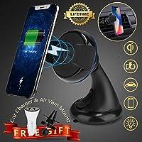 Cargador Inalámbrico Coche, iFuntec Qi Cargador Inalambrico Movil con Soporte de Teléfono de Coche Cargador de Coche Soporte a Rejillas del Aire con Cargador de Puerto Dual USB para Samsung Galaxy