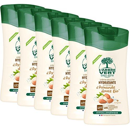 L'arbre vert Bien-être Crème Douche Amande Douce aux Extraits d'Amande Douce Bio - Pack de 6