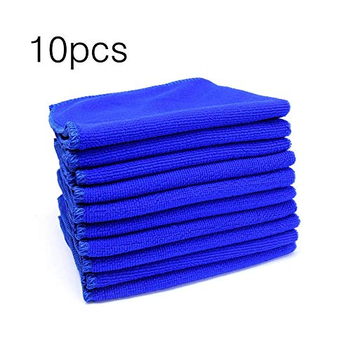 10pcs 30x30cm Large Microfiber Cleaning Cloth Professional Auto Car Soft Cloth Wash Towels Duster Rags for Home Kitchen Blue Steel Wash