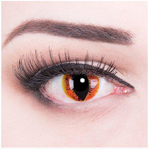 Funnylens 1 Paar farbige gelbe orange Crazy Drachenaugen Dragon Eyes Manticor Jahres Kontaktlinsen Perfekt zu Halloween, Karneval, Fasching oder Fasnacht mit gratis Kontaktlinsenbehälter ohne Stärke