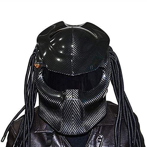 r Carbon Fiber Helm, Full Face Helm Anti-Fog-Objektiv Vier Saison Männer und Frauen Helm mit Licht, DOT Sicherheit,Black,S ()