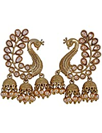 Chattons Fashion Stylish Traditional Peacock Dangle & Pearl Drop Earrings For Women