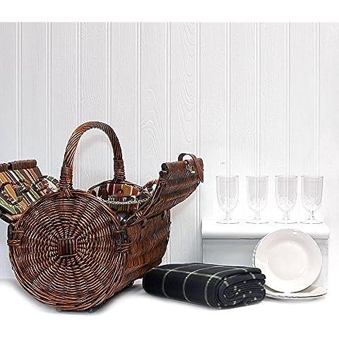 Cantley–4Persona Deluxe–Cesta de barril de picnic de mimbre con forro de rayas con verde Tartán Picnic Lana Impermeable Manta y accesorios Ideas de regalo para cualquier ocasión