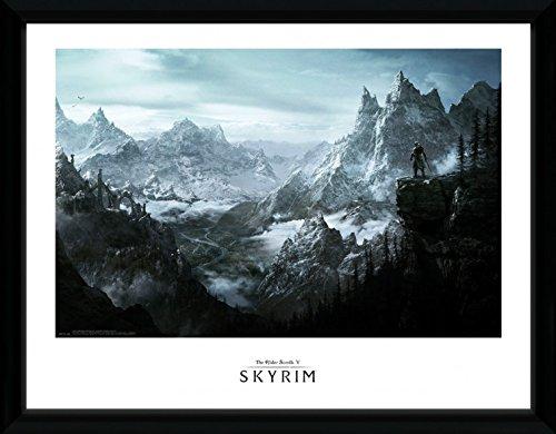 Preisvergleich Produktbild 1art1 100201 Skyrim - Vista Gerahmtes Poster Für Fans Und Sammler 40 x 30 cm