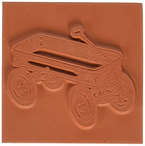 Deep Red Stamps Rubber Cling Stamp 2-inch x 2-inch-Little Red Wagon