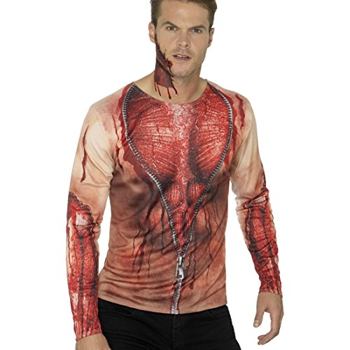Amakando Digital Print T-Shirt - M (48/50) - blutiges Zombieshirt Halloween Fakeshirt Zombie Opfer Faux Real Long Sleeve Kostüm Horrorshirt Leiche Halloweenshirt aufgerissene Haut (Halloween Blutige T-shirt)