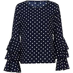 Lenfesh Casual de Mujer Solid Camisa Manga Larga Blusa Camisas con Volantes (Azul, 2XL)