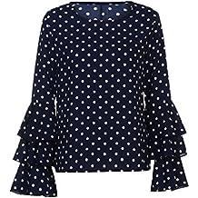Lenfesh Casual de Mujer Solid Camisa Manga Larga Blusa Camisas con Volantes