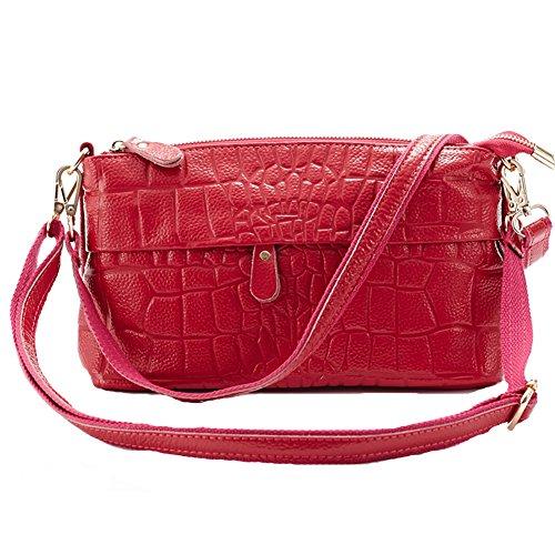 GSPStyle Damen Leder Schultertasche Damenhandtasche Umhängetaschen Reißverschluss Cross Body Stil Dunkelrosa