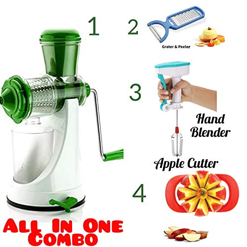 REDFAM Combo of Plastic Hand Press Manual Juicer for Juicy Fruits (Multicolour)