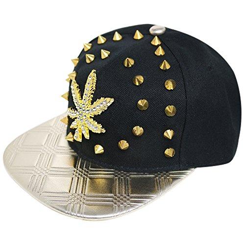Unisex Punk/Hip-Hop Ohrstecker Spike Nieten Baseball Kappen–Vielzahl von Designs erhältlich Gr. One size, Shine Stud Jewel Leaf Black 037