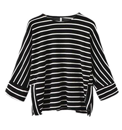 Gogofuture Maglietta A Righe Donne Allentato T-Shirt Manica a 3/4 Rotondo Collo Bluse Maglie Sciolto Pipistrello Tops Casual Black