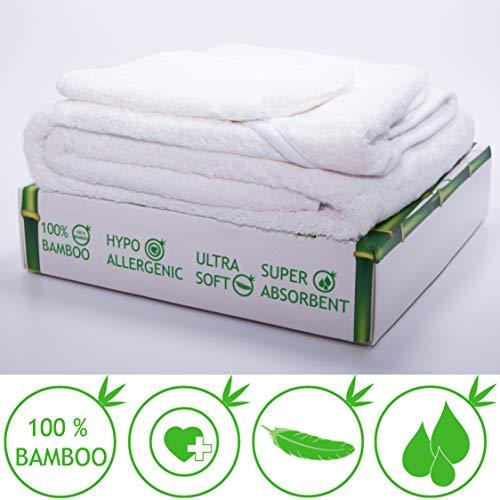 (Bambus Baby Kapuzenhandtuch und Waschlappen Set, Extra Weich Bademantel/Kapuzenbadetuch/ Badehandtuch/Poncho | Groß 90x90cm, Weiß |100% Ecologiche Bambus, Antibakteriell, Hypoallergenic)