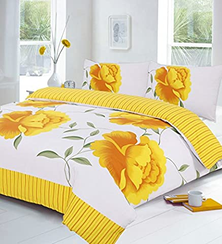 New Rosaleen 3 Piece Quilt Duvet Cover Set With Pillow Case (Double, Yellow)