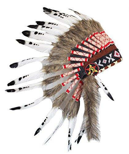arz und Weiß indischen Federschmuck / Ureinwohnerart Warbonnet .. (Adult Halloween Kostüme Indischen)