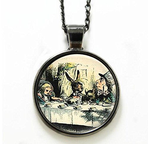 Wonderland collana a Mad Tea Party Mad Hatter March HARE fiaba Art collana Hatter stampa vetro collana c