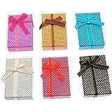 Hoomall Lot de 6pcs Mixte Boites Bijoux Boites Cadeaux en Papier Carre Assorties pr Bijoux Creations Mariage Fete Multicolore 5x8cm