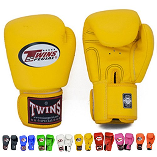 Twins Special Muay Thai Boxhandschuhe bgvl-3Schwarz 8–10–12–14–16oz, Gelb, 227 g (Twins Special Thai Muay)