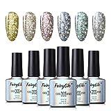 Smalto Semipermente per Unghie Set per Manicure 6pz Starry Glitter Super Shimmer Semipermanente UV LED Soakoff 10ml di Fairyglo - FXJ015