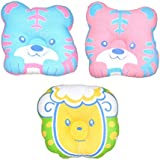 Baby Bucket Head Shaping Pillow Animal Shapes For New Borns 3 Pc Set. (Soft Poly Fibre Inner & Cotton Outer For Sleeping Support & Reshaping A Flat Head (Animal-1)