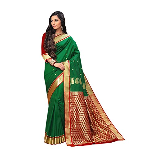 Craftsvilla Women's Silk saree with Zari Work Green color with Blouse piece