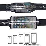 FREETOO Laufgürtel mit Doppeltaschen Wasserfest und Schweißabweisend für Smartphone Unter 6 Zoll Geeignet Damen und Herren Joggen Radfahren Wandern (Schwarz 1) - 2